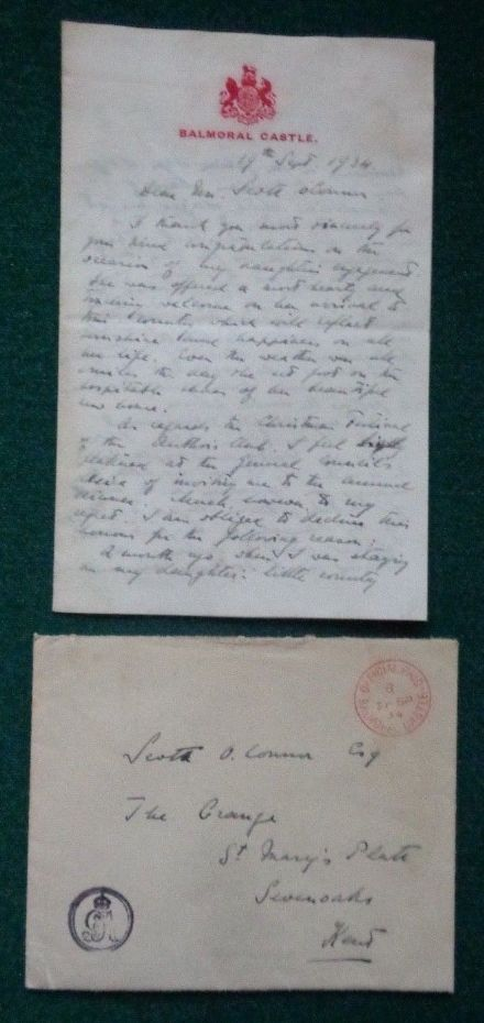 Antique Signed Letter Prince Nicholas of Greece Denmark Marriage Marina Balmoral